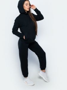 Черный женский костюм оверсайз с джоггерами